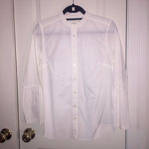 Loft Bell Sleeve Crisp White Button Down Shirt